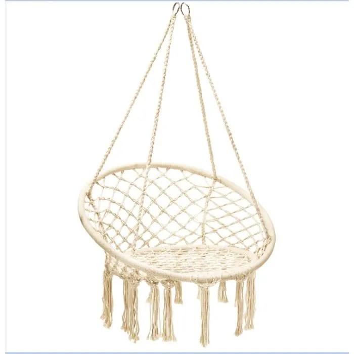 hamac chaise suspendue corde de coton tuyau en acier chaise balancoire pour interieur exterieur charge maximum 150kg