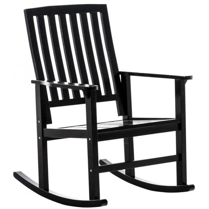 fauteuil a bascule en bois noir style rustique cha