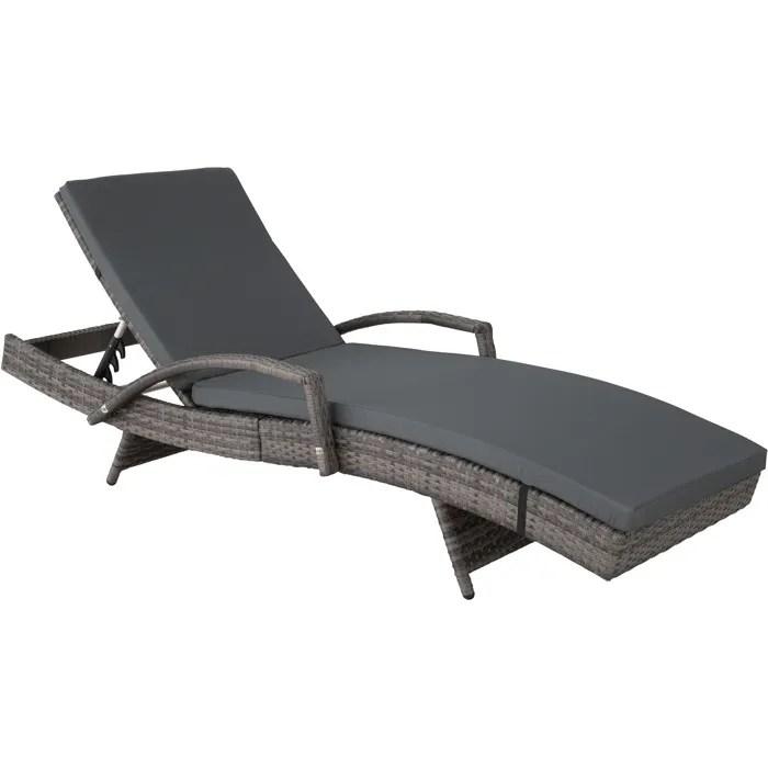 tectake bain de soleil avec accoudoirs en resine tressee et aluminium inclinable 5 positions gris