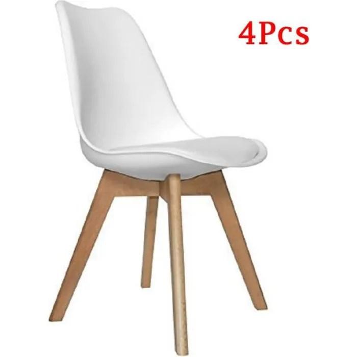 lot de 4 chaises retro tulip bois de hetre massif blanc