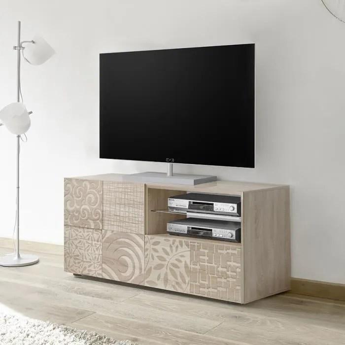 petit meuble tv 120 cm contemporain chene clair el
