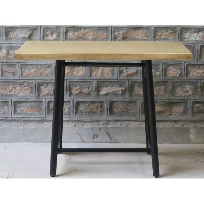 table hauteur 90cm metal et bois los angeles meuble house marron