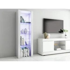 meuble de salon vitrine blanc laque
