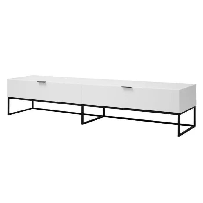 meuble tv en bois laque avec 1 tiroir 1