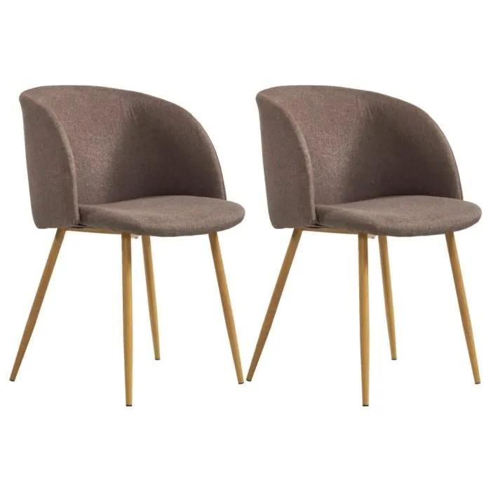lot de 2 chaises de salle a manger chaises scandinave marron tissu