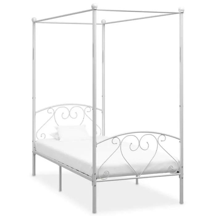 lit metal 1 personne blanc