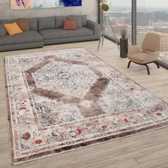 tapis tapis poils ras pour salon motif oriental