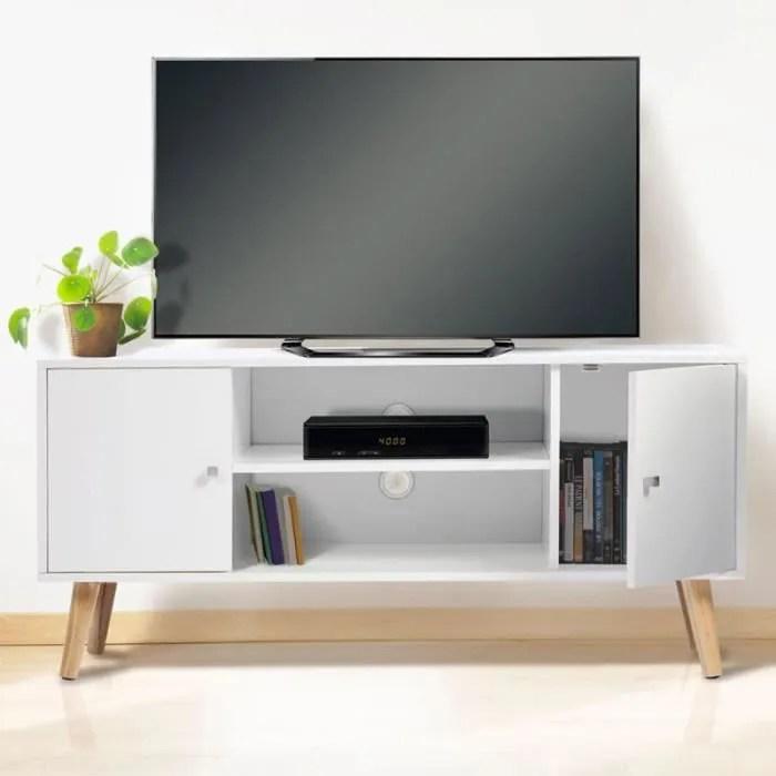 meuble tv effie scandinave bois blanc