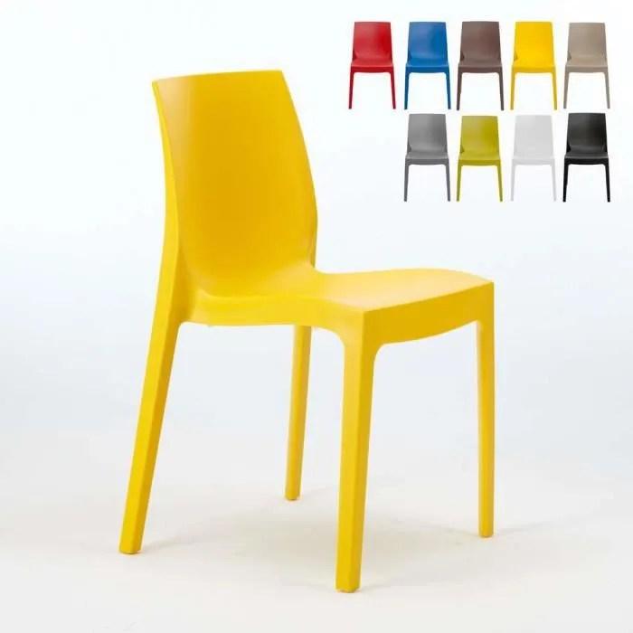 chaise en polypropylene empilable salle a manger cafe bar rome grand soleil couleur ja