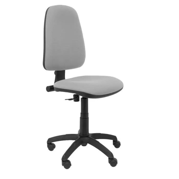siege de bureau avec mecanisme de contact permanent et reglable en hauteur assise et dossier rembourres en tissu bali gris clair