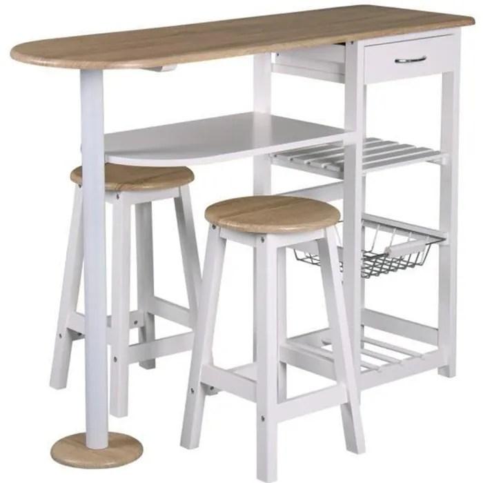 table bar et 2 tabourets blanc l 119 x p 37 x h 88 cm