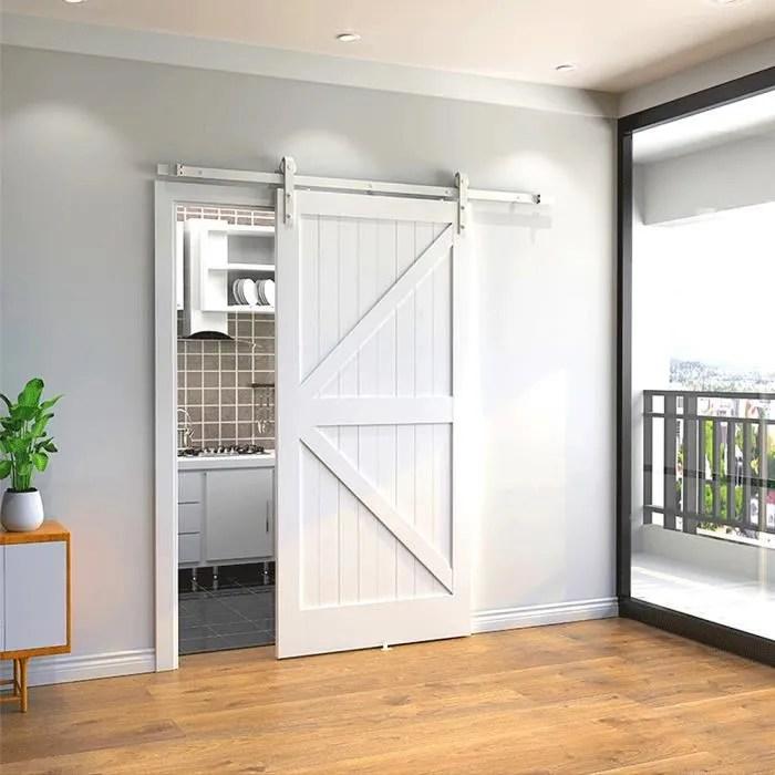 blanc kit de rail pour porte coulissante suspendue en bois 200 cm