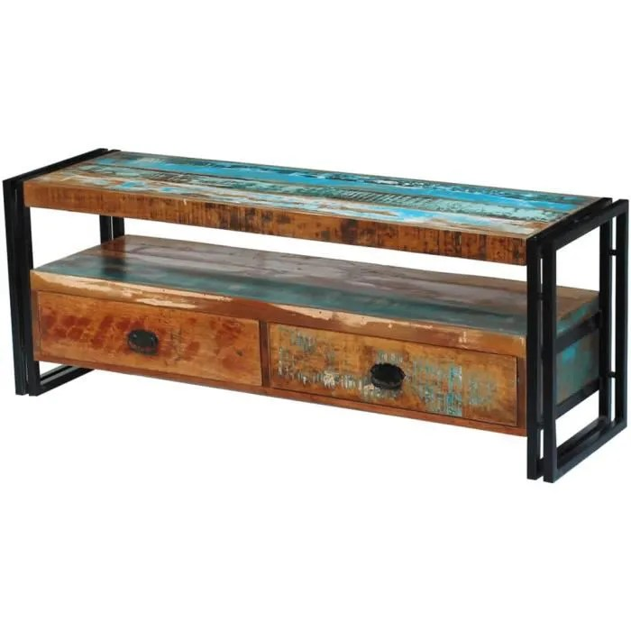 meuble tv industriel 2 tiroirs bois de recuperation massif casier buffet bas bibliotheque en bois 120 x 35 x 45 cm