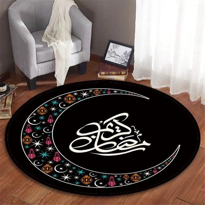 tapis de bain rond a motif lasser bairam fleece sa