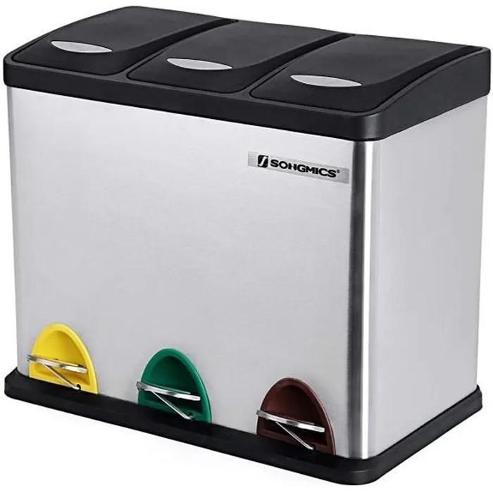 songmics poubelle de cuisine ltb24l avec pedales et 3 compartiments tri selectif de recyclage en inox 24 l