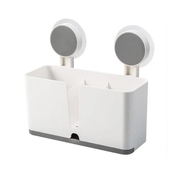 support panier de cuisine accroche adhesif sans percage support d evier blanc porte eponge efficace rangement organisateur