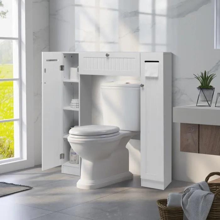 costway meuble de toilette wc armoire avec etagere meuble de rangement pour salle de bain 87 x 18 x 98 cm blanche