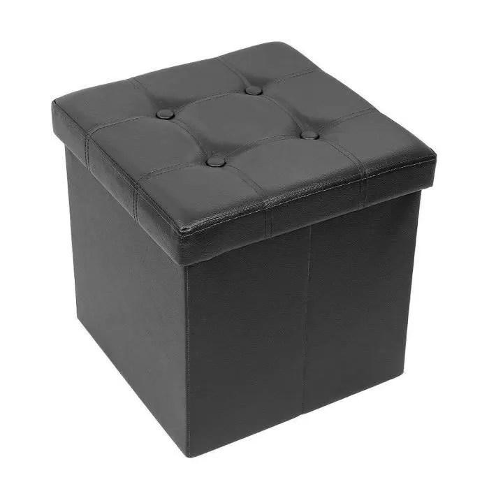 iwmh pouf coffre de rangement pliable ottoman rangement coffre cube de repose pieds 38x38x38 cm simili cuir noir