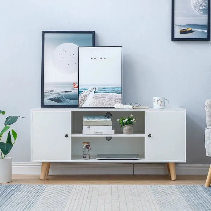 meuble tv scandinave blanc table de basse nordiqu