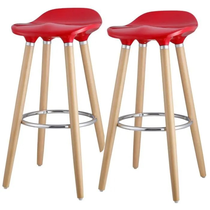 oslo lot de 2 tabourets de bar rouge laque pieds hetre massif contemporain l 39 x p 40 cm