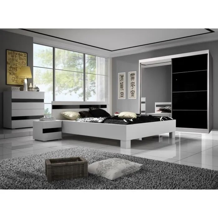 chambre miranda ii 160x200 cm sans armoire lit chevets commode chambres adultes