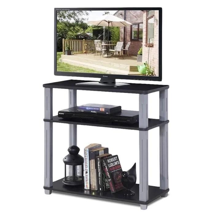 costway meuble tv en bois etagere