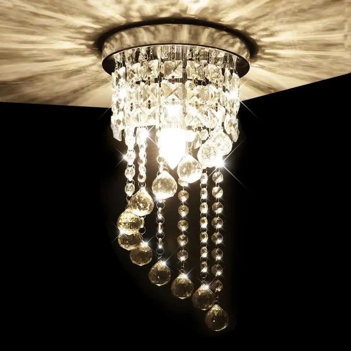 moderne lustre en cristal plafonnier lumiere k9 cristal pour chambre a coucher couloir salon hauteur 37cm diametre 20cm