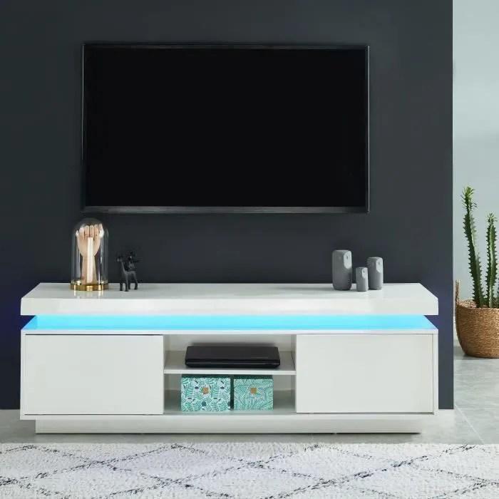 meuble tv bas blanc laque