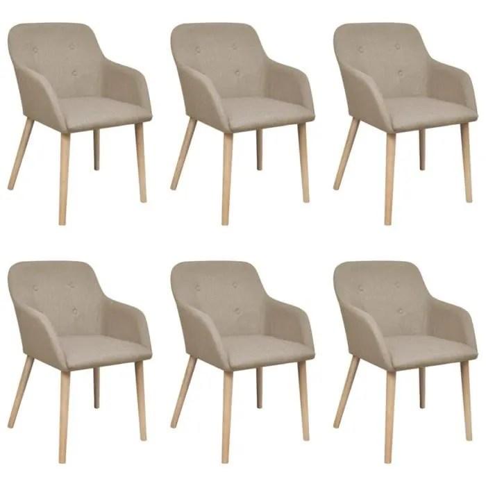 lot de 6 chaise de salle a manger 6 pcs cadre en chene tissu beige