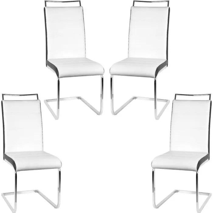 lot de 4 chaises blanches et noir bien rembourre avec dossier haut pour sejour salle a manger et cuisine