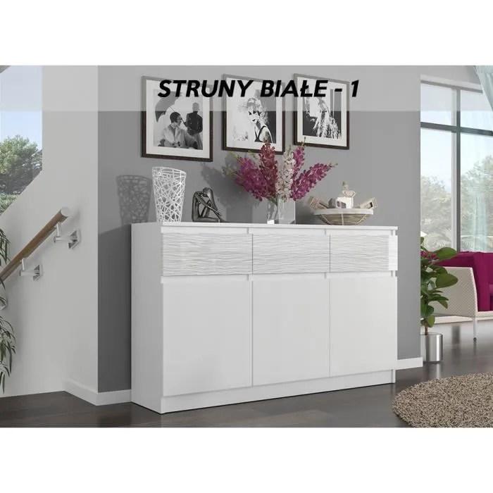 meuble rangement salon blanc laque