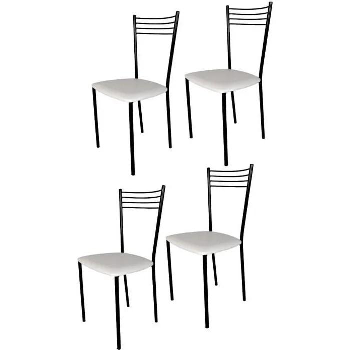 tommychairs set 4 chaises cuisine elena robuste structure en acier peindre en noir et assise en cuir artificiel couleur blanc