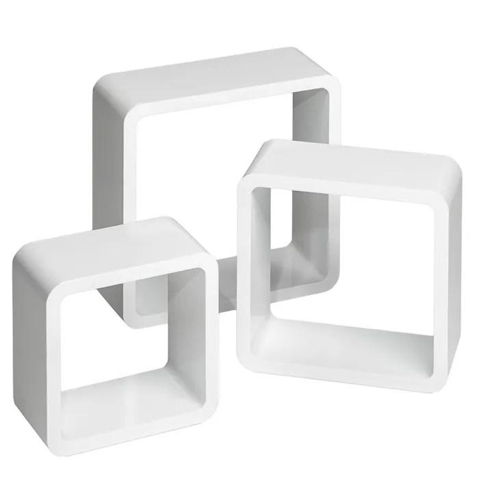 tectake lot de 3 etageres murales design moderne carre cube 3 tailles differentes en bois blanc