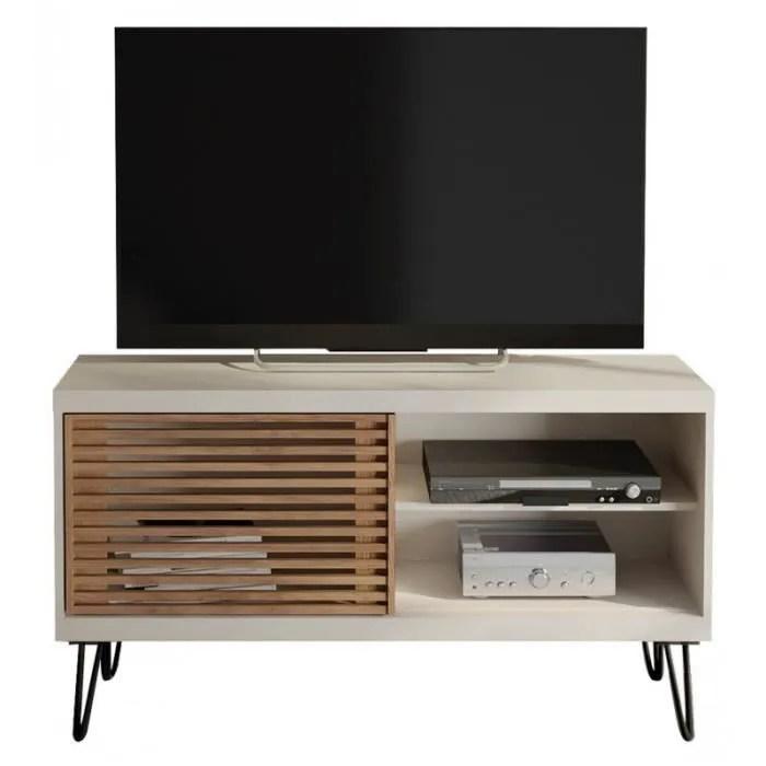 meuble tv 120 cm blanc porte persiennes caemmum