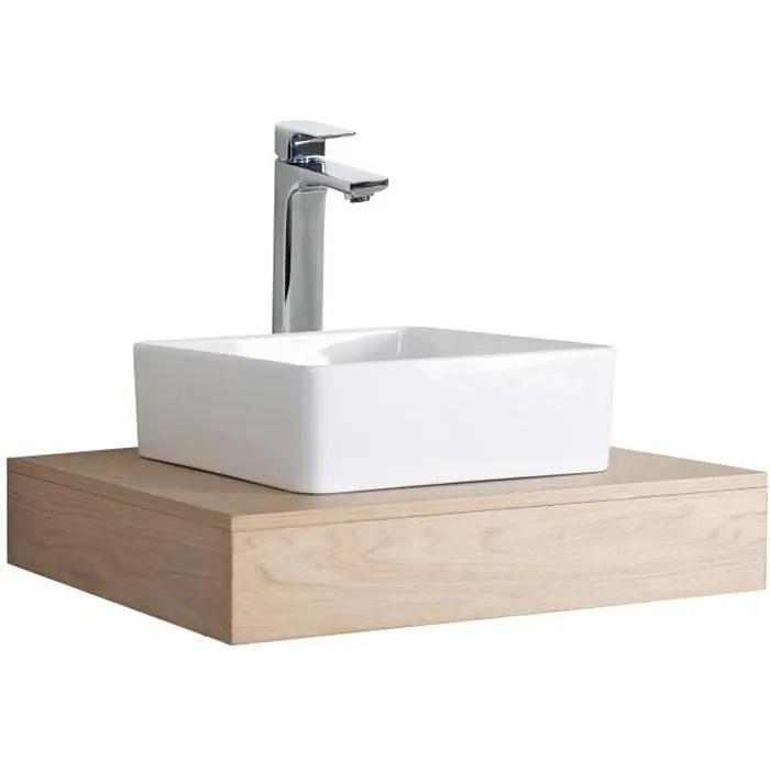 Plan De Toilette Suspendu Pour Vasque Will 60 Cm Ep 12 Cm Equerres Invisibles Decor Chene Achat Vente Meuble Vasque Plan Plan De Toilette Suspendu Cdiscount