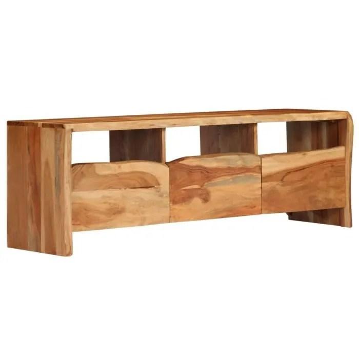 meuble tv bois d acacia massif 120 x 35 x 40 cm bo