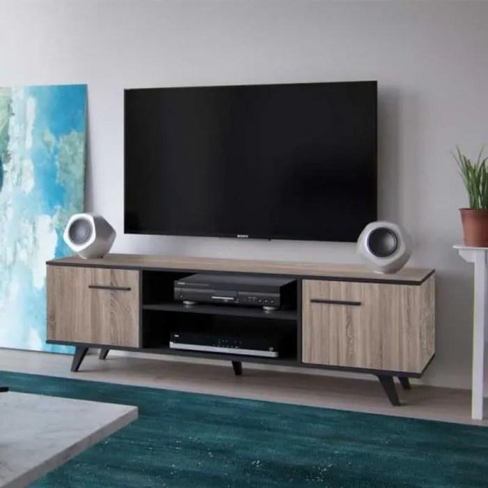meuble tv 2 portes chene noir avignon bois b