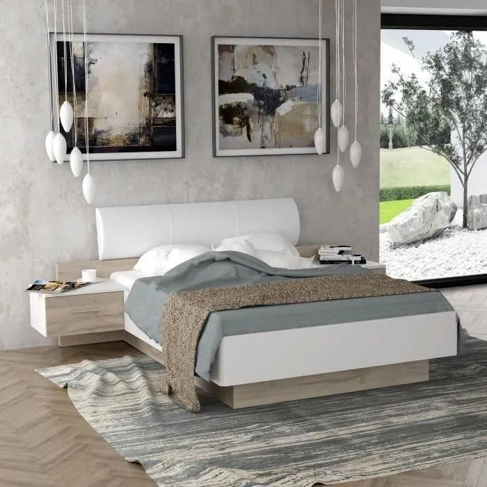morolla lit adulte 140x190 cm avec 2 chevets tete de lit en simili blanc