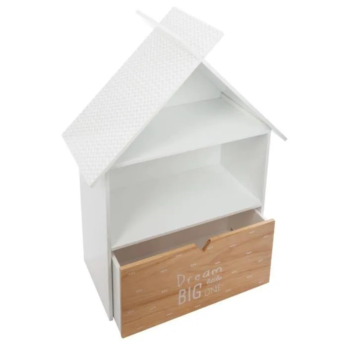 atmosphera bibliotheque forme maison avec 1 tiroir l 67 5 x l 30 x h 93 5 cm blanc