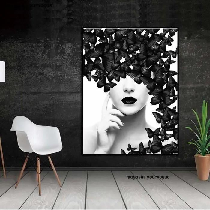 Nordic Poster Noir Blanc Papillon Femme Mur Art Impressions Sur Toile Mur Photos Peintures Modernes Pas Encadre Mc12815 Achat Vente Affiche Poster Cdiscount