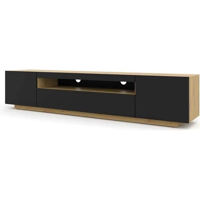 meuble tv table 200 cm salon hi fi commode chene a