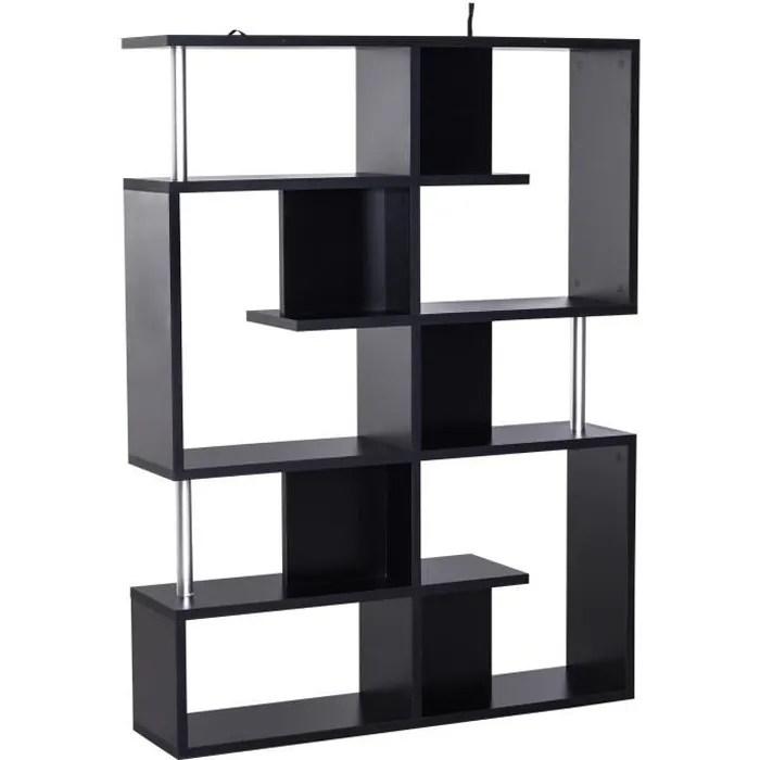 bibliotheque etagere separation design contemporain zig zag dim 120l x 29l x 160h cm panneaux particules noir metal 120x29x160cm