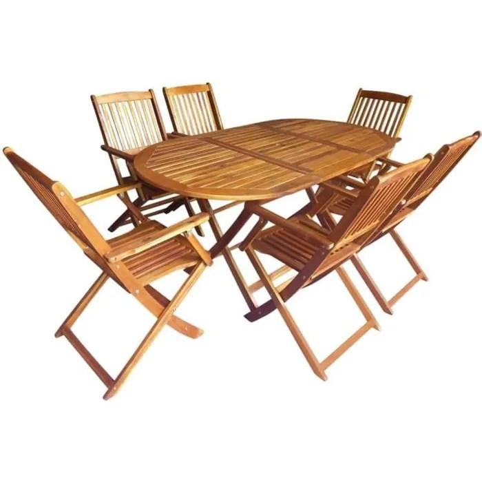7 pcs mobilier d exterieur pliable avec 1 table et 6 chaises en bois d acacia massif salon de jardin mobilier de jardin