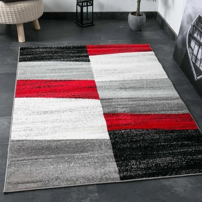 tapis de salon geometriques rouge gris blanc et noir 160x220 cm