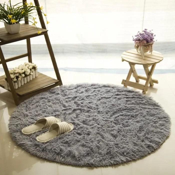 tapis rond 80cm velours louna bureau cuisine gris
