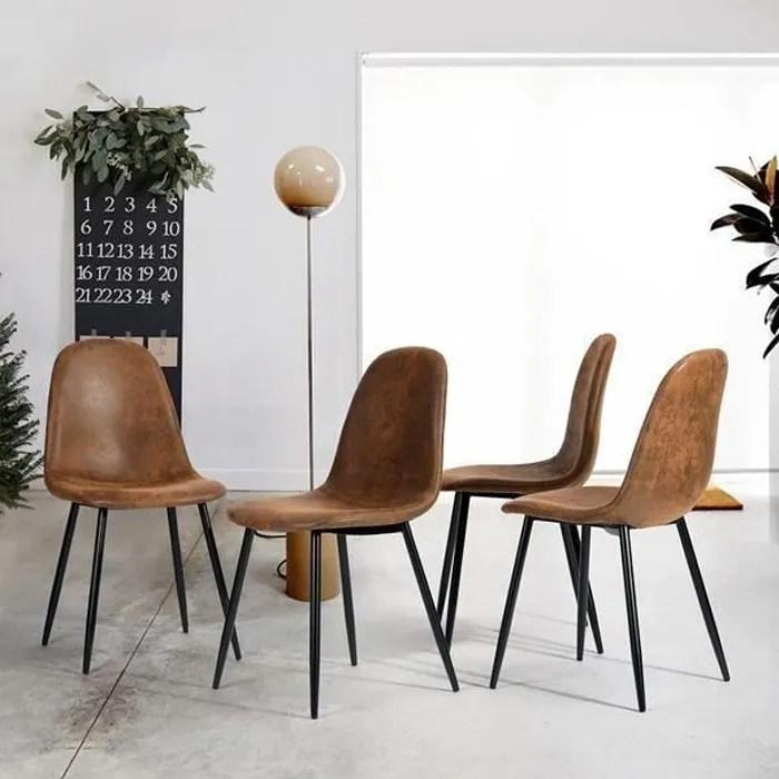furniturer lot de 4 chaises de salle a manger avec pieds en metal vintage simili marron