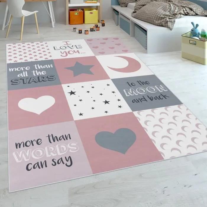 tapis chambre enfant filles lavable curs etoiles l