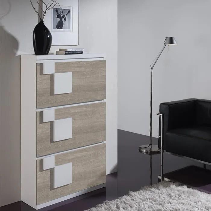 meuble a chaussures blanc et couleur bois clair parana 2