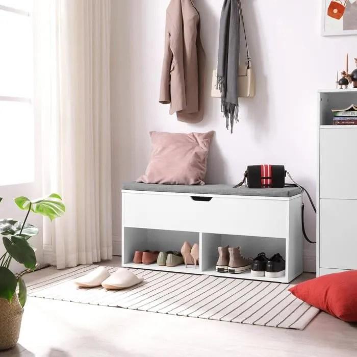 vasagle meuble a chaussures avec 2 compartiments ouverts et 1 compartiment ferme 100 x 30 x 48 cm blanc lhs21wt
