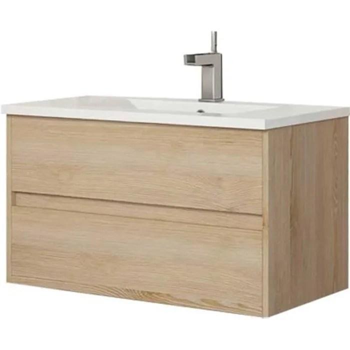 meuble sous vasque suspendu bois